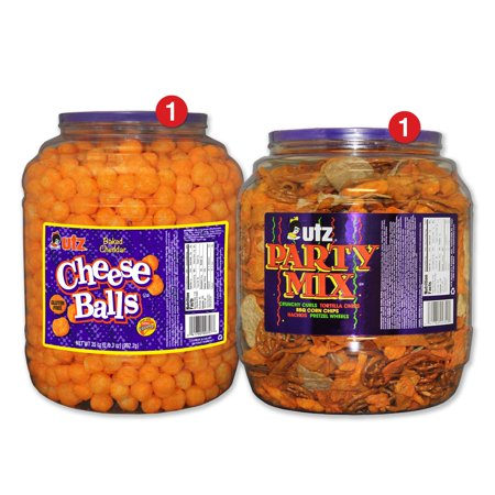 Utz Snack Barrel Variety Pack, Cheeseballs & Party Mix](Food Snacks For Halloween Party)