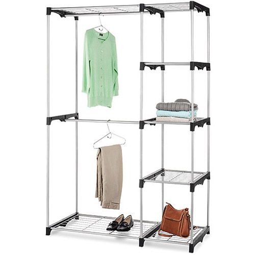Whitmor Double Rod Freestanding Closet, Silver/Black