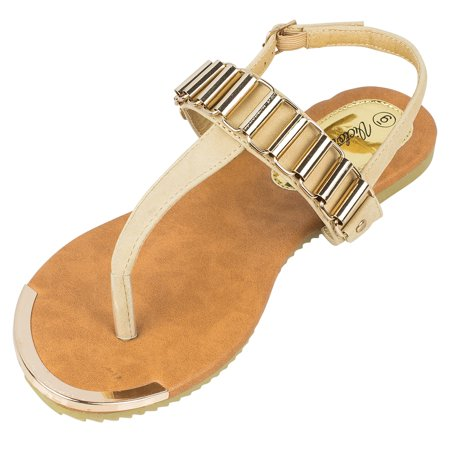 Victoria K Fashion Women's Gold Linked Sandals