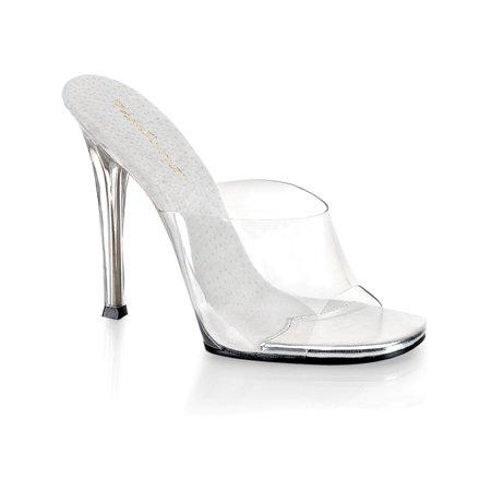 - Womens 5 Inch Sexy High Heel Shoes Stiletto Heel Slip On Slides Clear Sandals