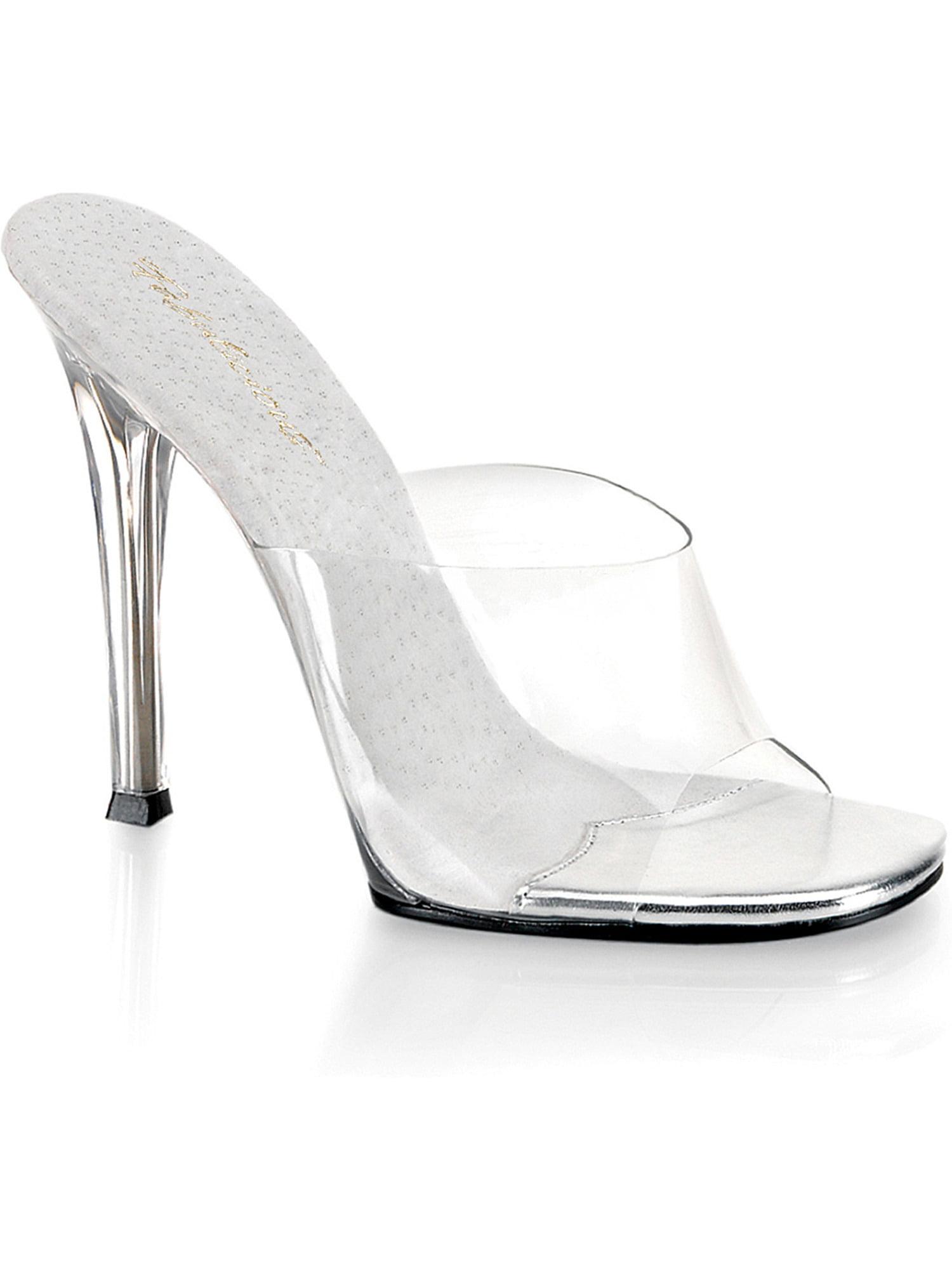 womens 5 inch sexy high heel shoes stiletto heel slip on slides clear sandals