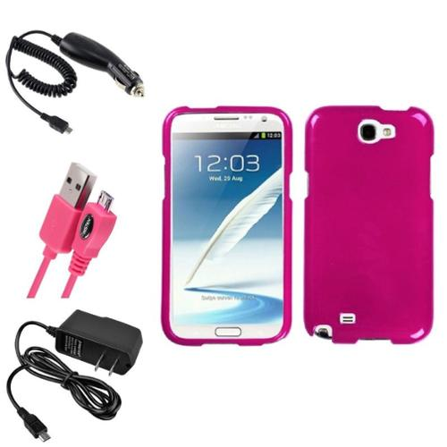 Insten Solid Hot Pink Hard Case DC Home Charger Cable For Samsung Galaxy Note 2 II