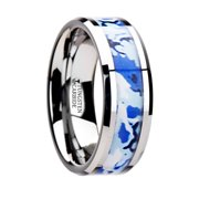 general tungsten wedding ring with blue and white camouflage inlay 8mm - White Camo Wedding Rings