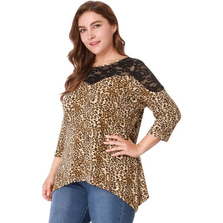 - Women's Plus Size Bracelet Sleeve Lace Panel Asymmetric Hem Leopard Print Shirt Top Brown (Size 1X) Brown 3X