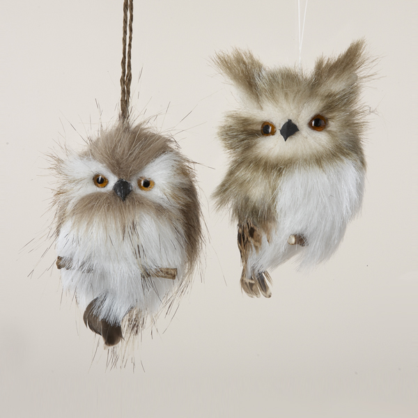 Pack of 12 Furry Brown and White Hanging Owl Christmas Ornaments 4""
