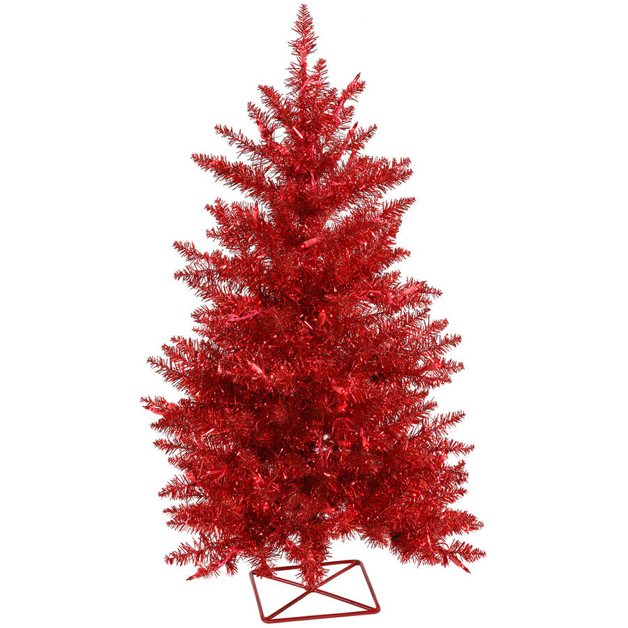 Vickerman 3' Red Artificial Christmas Tree with 70 Red Lights