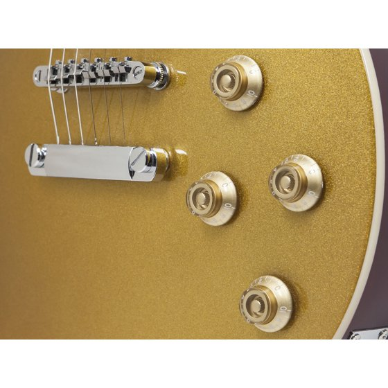 Monoprice Route 66 Modern Solid Body Electric Guitar, Goldtop ...