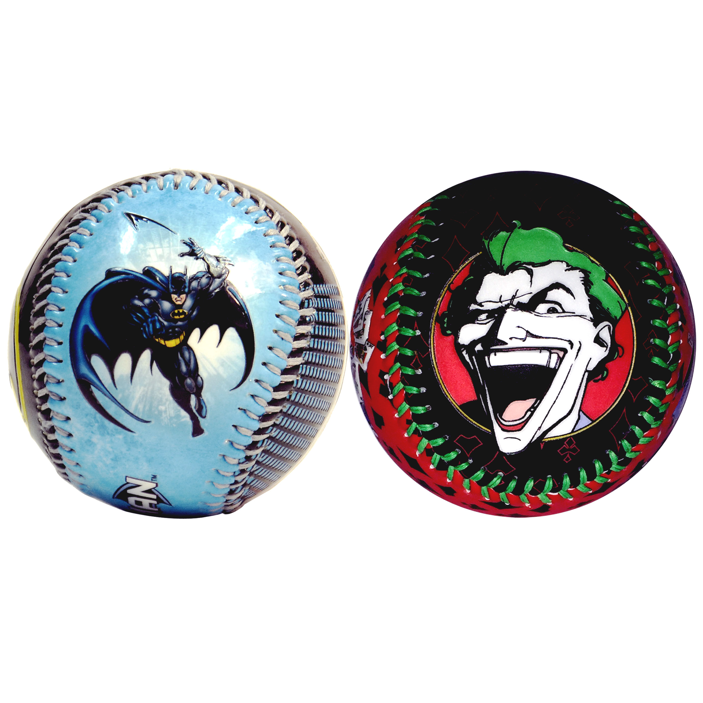 Batman In Action & The Joker Throwing Playing Cards DC Comics Set of 2 Baseballs