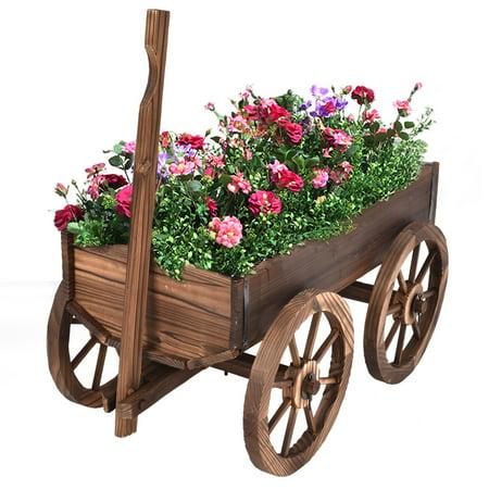 Costway Wood Wagon Flower Planter Pot Stand W/Wheels Home Garden Outdoor