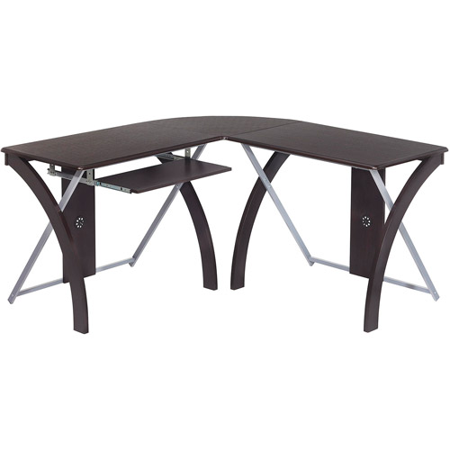 OSP Designs X-Test L-Shaped Computer Desk, Espresso