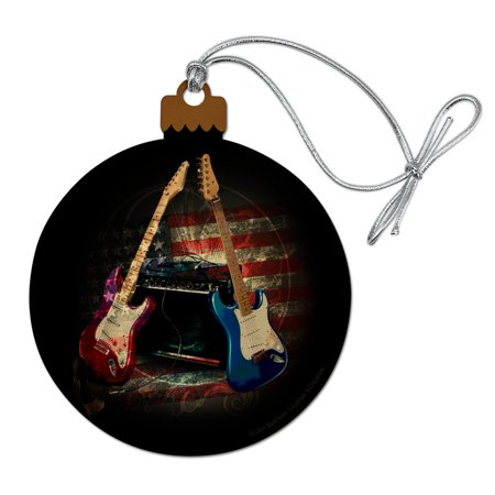 Electric Guitars American USA Flag Rock and Roll Red White Blue Wood Christmas Tree Holiday (Christmas Electric Ornaments)