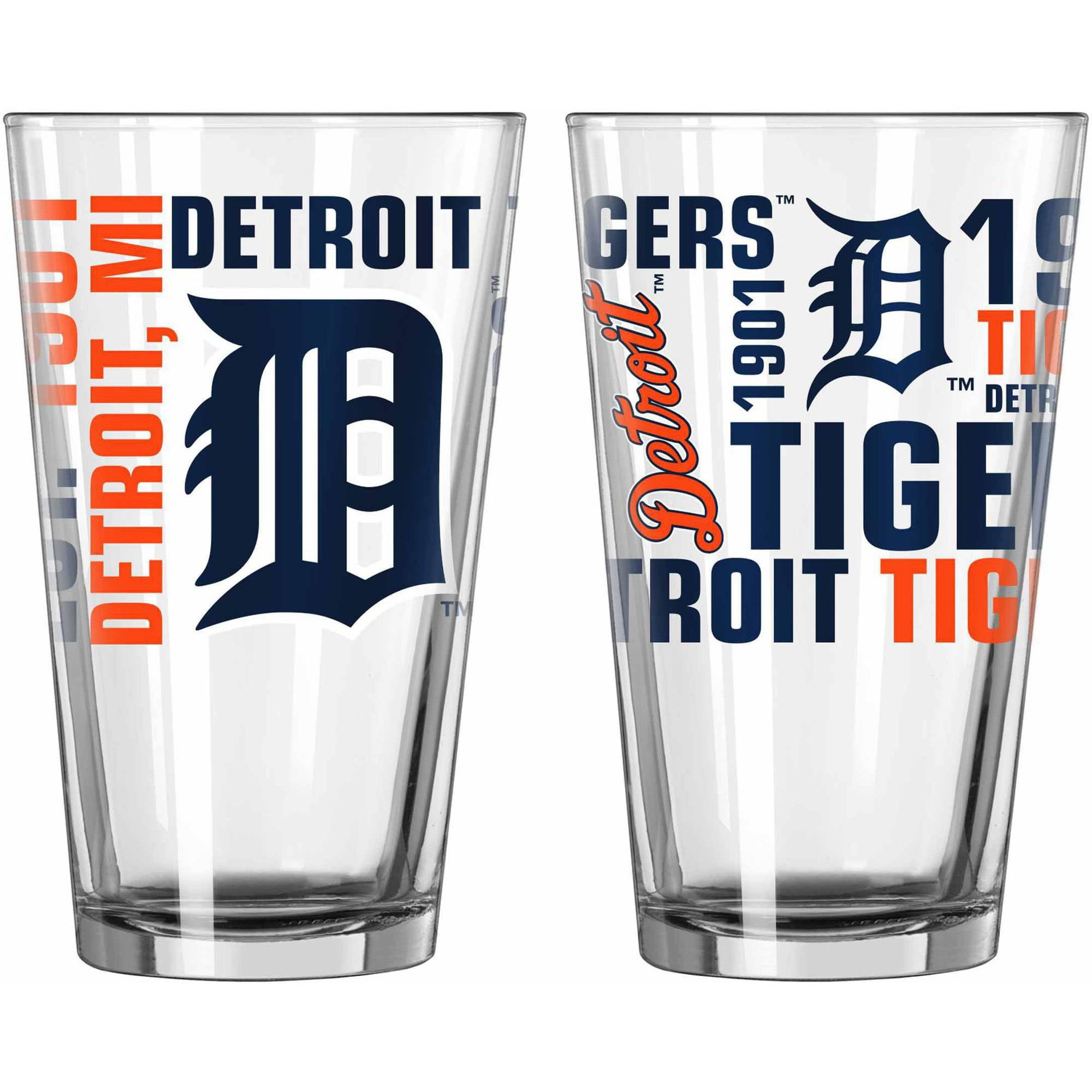 Boelter Brands NCAA Set of Two 16 Ounce Spirit Pint Glass Set, Detroit Tigers by Boelter Brands