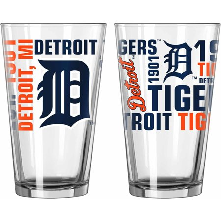 Boelter Brands NCAA Set of Two 16 Ounce Spirit Pint Glass Set, Detroit Tigers