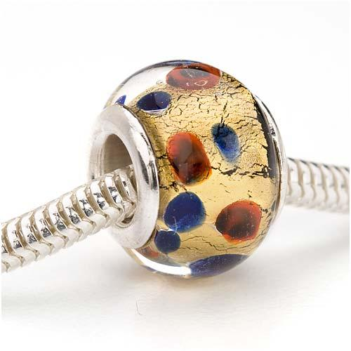 Murano Style Glass Real Gold Foil Lampwork European Style Large Hole Bead - Dots 14mm (1)