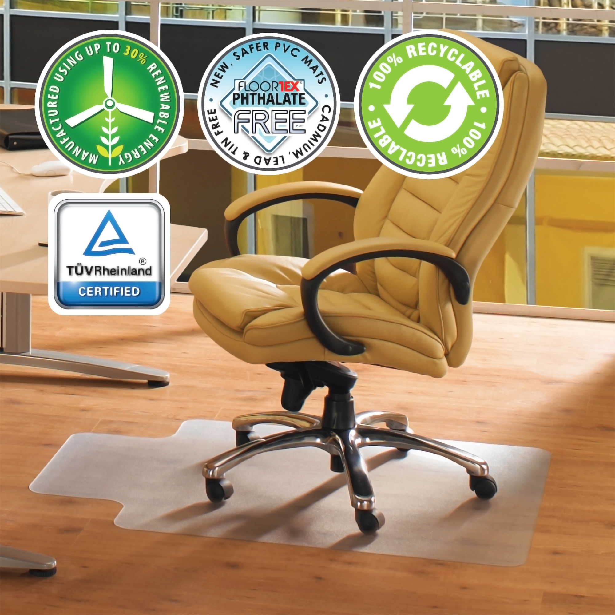 "Cleartex Advantagemat | PVC Clear Chair Mat | for hard floor | Rectangular with Lip | Size 36"" x 48"""