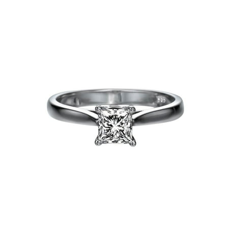 1/2 CT Diamond Engagement Ring in 14K White Gold (I-J color,I1-SI2 clarity) Solitaire Cathedral Princess