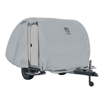 Classic Accessories OverDrive PermaPRO? Teardrop Travel Trailer Cover, Fits up to 8'L x 5'W Trailers - Lightweight Ripstop and Water Repellent RV Cover, (Ultra Lightweight Travel Trailers Under 2000 Pounds)