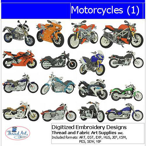 ThreadArt Machine Embroidery Designs Motorcycles(1) CD:
