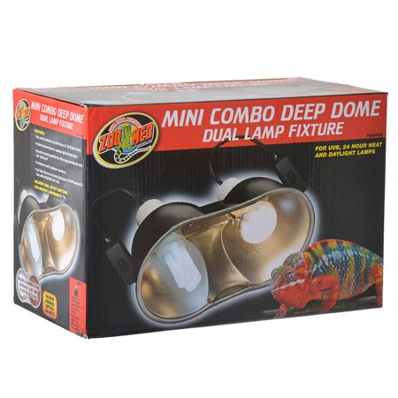 Zoo Med Mini Combo Deep Dome Lamp Fixture - Black Up to 100 Watts - Each Socket - Pack of