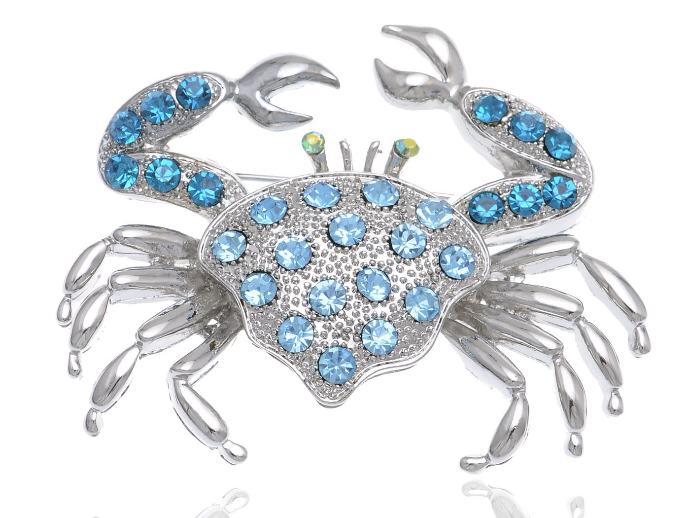 Aqua Light Blue Crystal Rhinestone Crab Critter Collection Fashion Brooch Pin by
