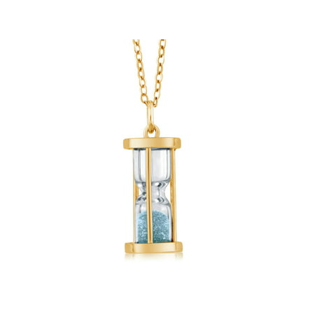 18k Gold Plated Silver Hourglass Pendant with Aquamarine Dust 18