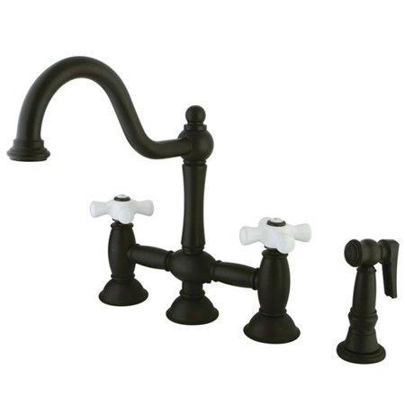 Handle Widespread Bridge Faucet - Elements of Design Double Handle Widespread Bridge Faucet with Porcelain Cross Handles