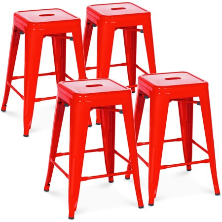 Best Choice Products 24in Set of 4 Indoor Outdoor Stackable Backless Counter Height Stools - Red ()