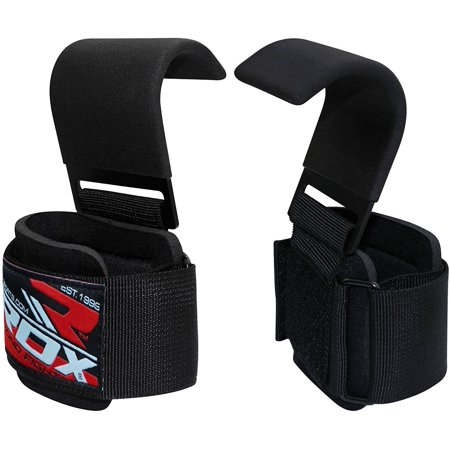 RDX Pro Gym Weight Lifting Hook With Wrist Strap