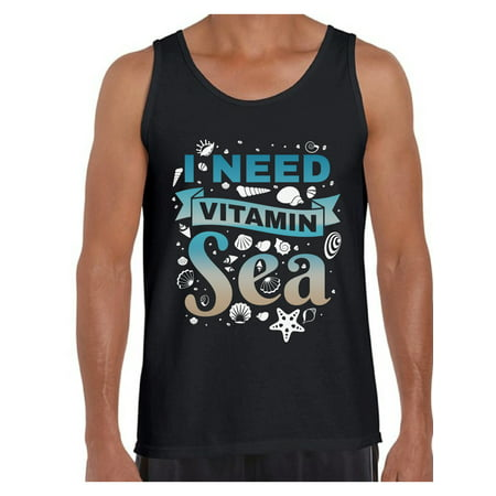 Awkward Styles I Need Vitamin Sea Tank Top for Men Beach Tank Top Summer Outfit Funny Gifts for Summer Vacation Muscle Tshirt Summer Workout Clothes Beach Party Outfit Vacay Vibes Men's Tank Top (Funny Tanks Men)