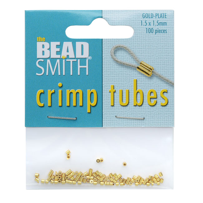 BeadSmith Crimp Tubes, 1.5x1.5mm, 100 Pieces, Gold Plated