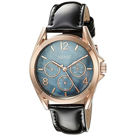 Women's AS8191BKR Rose Gold Multifunction Quartz Watch with Blue Dial and Green Leather Strap