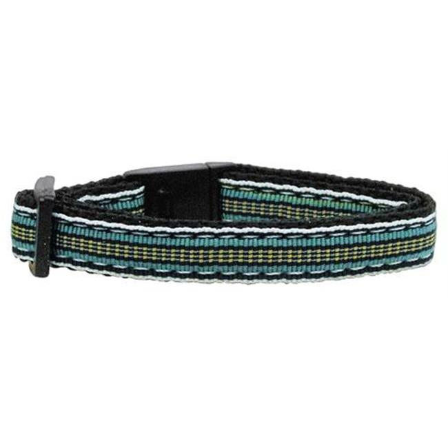 Preppy Stripes Nylon Ribbon Collars Light Blue - Khaki Cat Safety