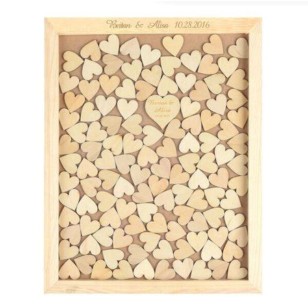 Wendana Rustic Wedding Guest Book Alternative Drop Top Box Personalized Heart Shadow With Name