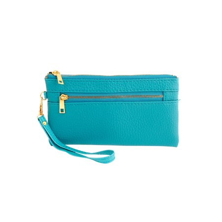 Women 4 Compartments Faux Leather Zip Up Hand Bag Purse Wallet Teal Green ()