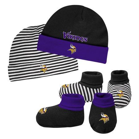 Newborn & Infant Black/Purple Minnesota Vikings Cuffed Knit Hat & Booties Set - Newborn - Cheap Viking Hats