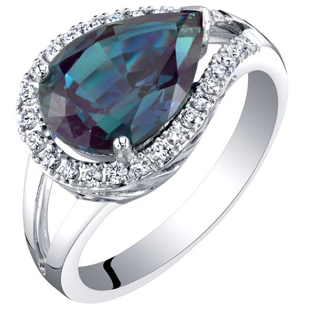 Alexandrite Lab - 14K White Gold Created Alexandrite and Lab Grown Diamond Ring 4.02 carats total Pear Shape