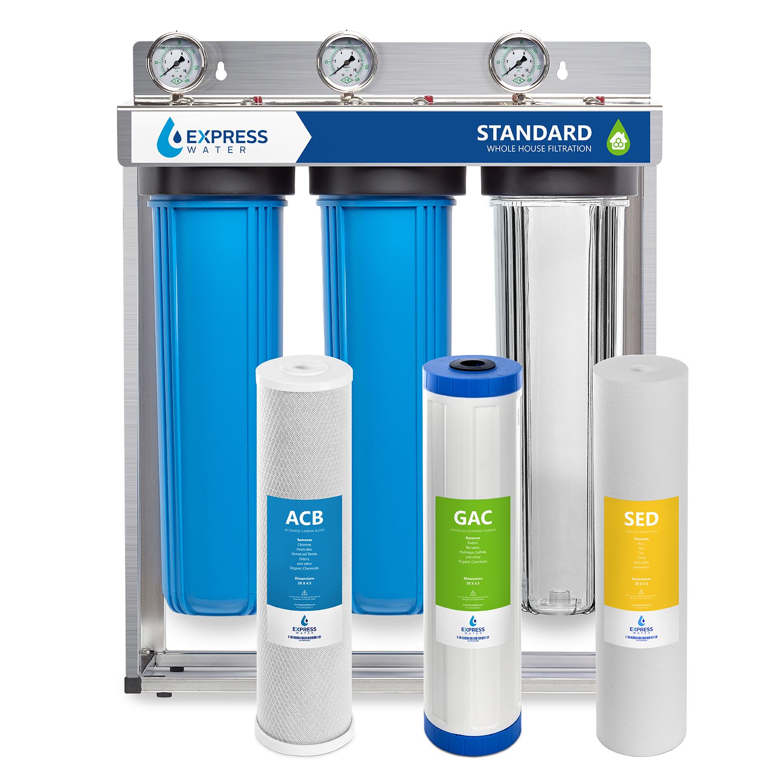 """Express Water Whole House Water Filter – 3 Stage Home Water Filtration System – Sediment, Charcoal, Carbon Filters – includes Pressure Gauges, Easy Release, and 1"""" Inch Connections"""