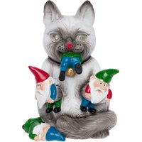 GreenLighting Solar Powered Cat Massacre Gnome Novelty Light Up Garden Statue