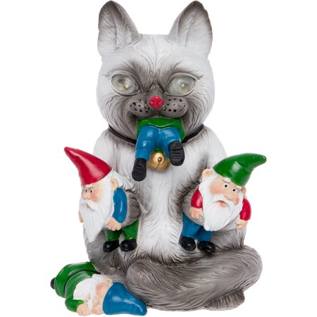 GreenLighting Solar Powered Cat Massacre Gnome Novelty Light Up Garden Statue Ceramic Garden Gnomes