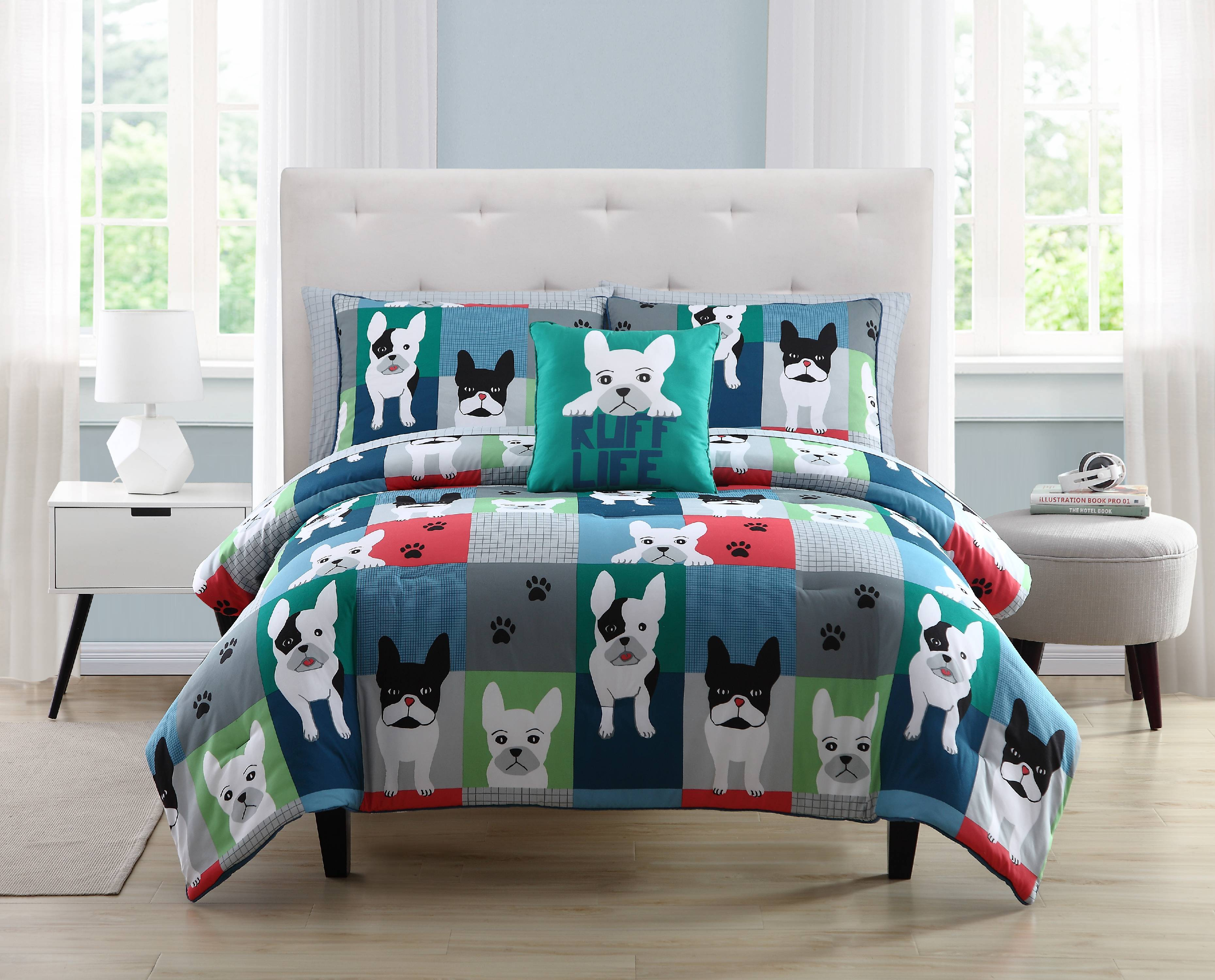 Happiness by Design Archie the Frenchie Patchwork Bed in a