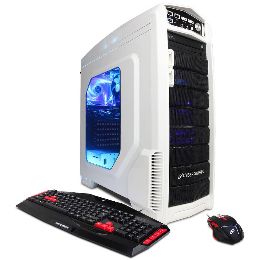 CyberPowerPC White/Blue Gamer Xtreme GXi760 Desktop PC with Intel Core i5-6600K Quad-Core Processor, 8GB Memory, 1TB Hard Drive and Windows 10 Home (Monitor Not Included)