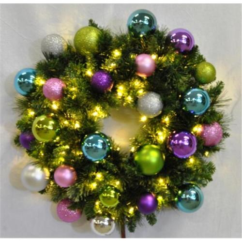 Queens of Christmas WL-GWSQ-03-VIC-LWW 3 ft. Pre-Lit Warm White Sequoia Wreath Decorated with The Victorian Ornament