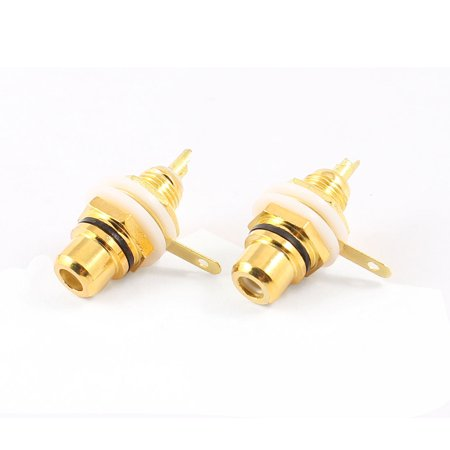 Rca Chassis Socket - Unique Bargains 2 Pcs RCA Phono Chassis Panel Mount RCA Female Cable Connector Socket Gold Tone