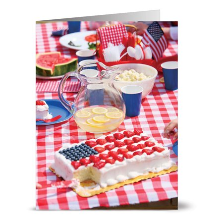 24 Patriotic Note Cards - Patriotic Picnic - Blank Cards - Red Envelopes Included