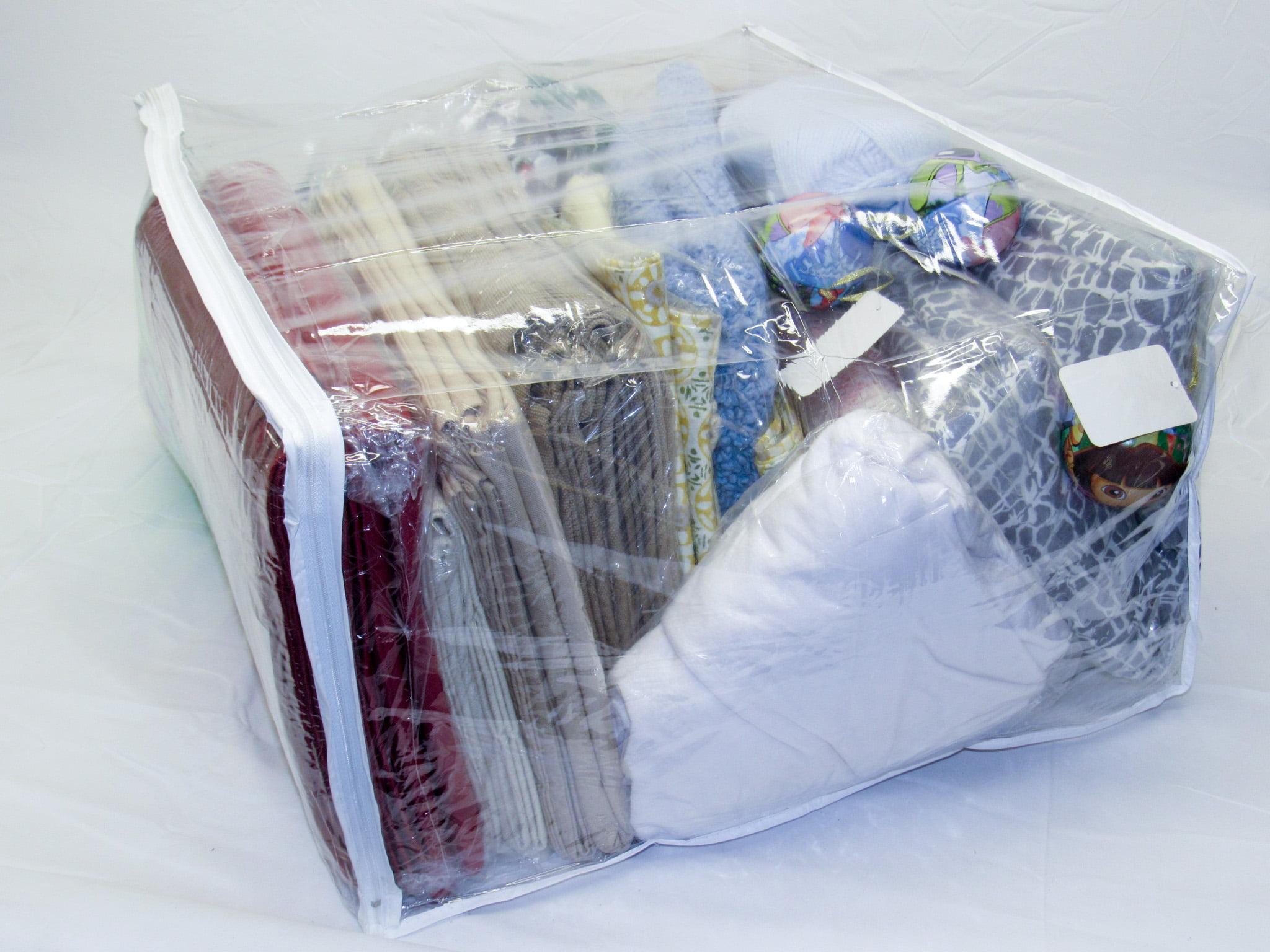 Jumbo Heavy Duty Vinyl Zippered Storage Bags Clear For