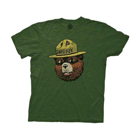 - Smokey Bear Vintage Smokey Head Adult T-Shirt Heather Forest