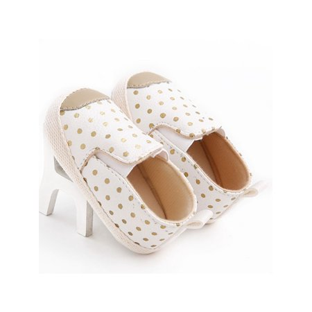 Babula Baby Kids PU Leather Polka Dots Prewalker Sneakers Soft Sole Shoes ()