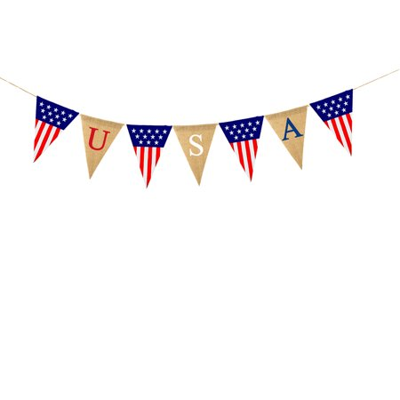 4th of July Independence Day USA Banner Patriotic Burlap Bunting - 7 Bunting/Set](Patriotic Banner)