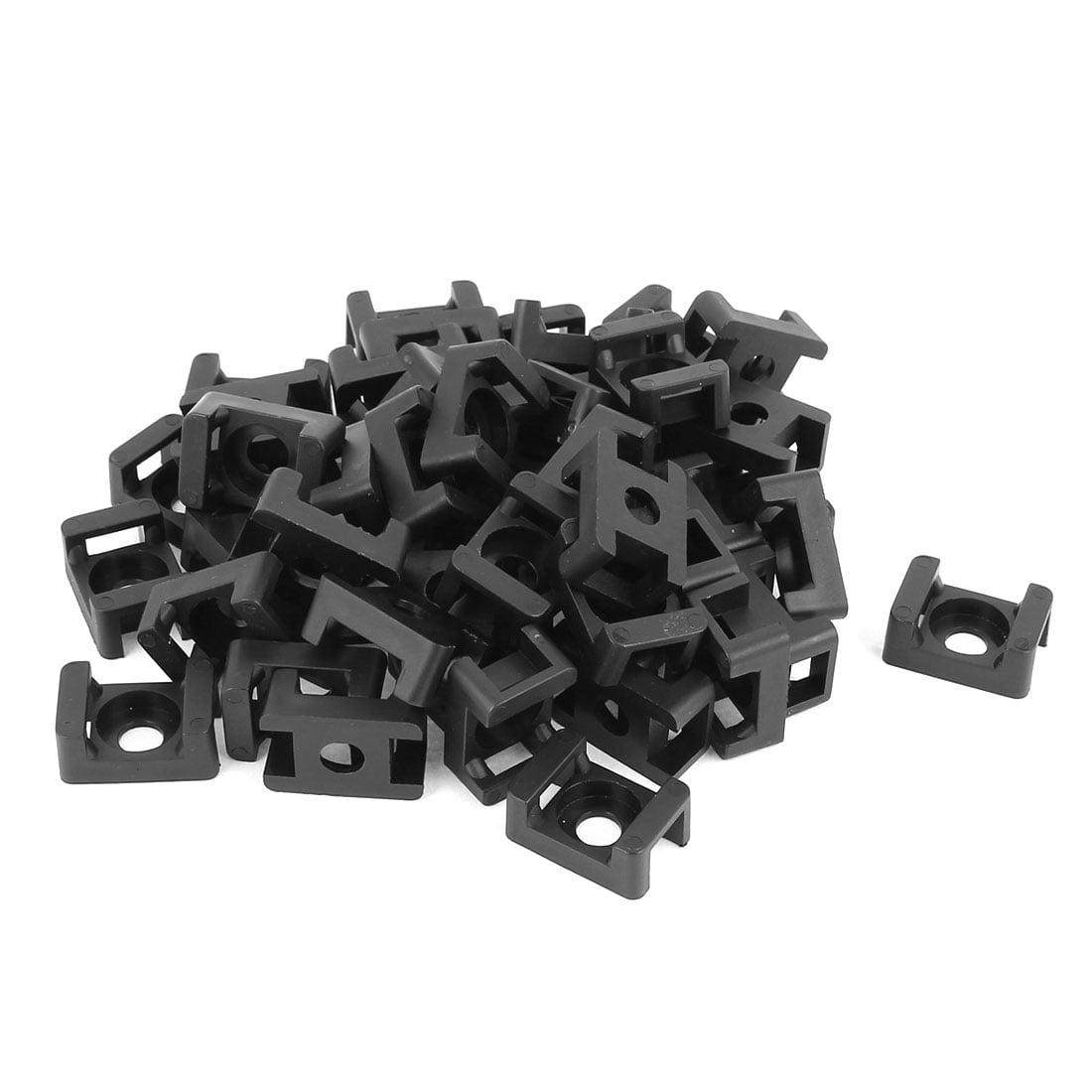 Plastic Saddle Type Cable Tie Base Mount Wire Holder Black 23 x 16 x 10mm 35 PCS