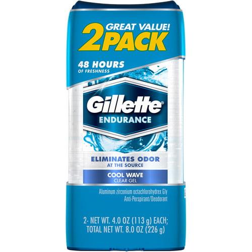 Gillette Endurance Cool Wave Clear Gel Anti-Perspirant & Deodorant, 4 oz, 2 count